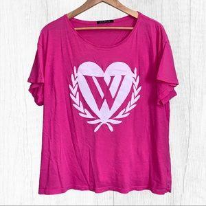 "Wildfox ""W"" Heart Logo Pink Tee Sz 1"